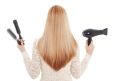 Redhead hair and hairdresser's tools - Stock Image